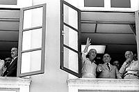 Campanha por eleições diretas no Brasil.<br /> <br /> <br /> Tancredo Neves, candidato a presidência da república,  Ulisses Guimarães, Franco Montoro e seu vice José Sarney, assistem a procissão do Círio de Nazaré  durante a campanha para a eleição no Colégio Eleitoral, em janeiro de 1985. <br /> <br /> Belém, Pará, Brasil.<br /> Foto Paulo Santos<br /> 14/10/1984