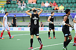The Hague, Netherlands, June 08: Simon Child #6 of New Zealand reacts to a play during the field hockey group match (Men - Group B) between the Black Sticks of New Zealand and Germany on June 8, 2014 during the World Cup 2014 at Kyocera Stadium in The Hague, Netherlands.  Final score 3-5 (1-3) (Photo by Dirk Markgraf / www.265-images.com) *** Local caption ***