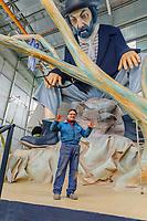 "Europe, Italy, Tuscany, Viareggio, Alessandro Avanzini, son of art, presents in his laboratory the cart ""Aspettando Godot"",inspired by Beckett"