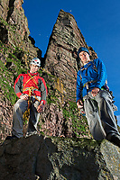 Dave Macleod (right) and Andy Turner (left) posing for portraits 2 days after climbing the Longhope Route on St John's Head with the headwall looming behind them. Hoy, Scotland