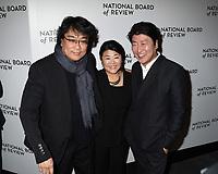 08 January 2020 - New York, New York - Bong Joon-Ho, Jeong-eun Lee and Kang-ho Song at the National Board of Review Annual Awards Gala, held at Cipriani 42nd Street. Photo Credit: LJ Fotos/AdMedia