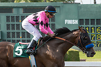 CYPRESS, CA. JULY 15:#5 West Coast ridden by Drayden Van Dyke wins the Los Alamitos Derby (Grade lll) on July 15, 2017, at Los Alamitos Race Course in Cypress, CA.  (Photo by Casey Phillips/Eclipse Sportswire/Getty Images)