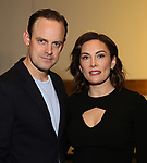 "Harry Hadden-Paton and Laura Benanti attend the ""My Fair Lady"" Re-Opening Celebration at the Vivian Beaumont Theatre on January 27, 2019 in New York City."