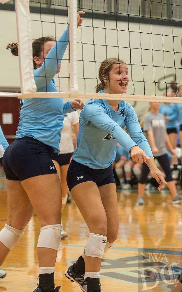 NWA Democrat-Gazette/ANTHONY REYES &bull; @NWATONYR<br /> Springdale Har-Ber against Conway Thursday, Oct. 27, 2016 during the 7A State Tournament at Wildcat Arena in Springdale. The Lady Wildcats won in five sets earning a berth in the 7A state championship.