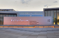 The Kulturforum, a collection of cultural buildings developed in the 1950s and 1960s in West Berlin, Germany. This complex includes the Gemaledegalerie housing European paintings, the Kupferstichkabinett or Print Room, the Kunstbibliothek or Art Library and the Kunstgewerbemuseum or Decorative Arts Museum. Picture by Manuel Cohen
