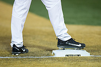 A Wake Forest Demon Deacons runner stands on third base wearing Nike cleats during the game against the Kent State Golden Flashes in game two of a double-header at David F. Couch Ballpark on March 4, 2017 in Winston-Salem, North Carolina.  The Demon Deacons defeated the Golden Flashes 5-0.  (Brian Westerholt/Four Seam Images)