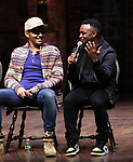 "Anthony Lee Medina and Jimmie ""JJ"" Jeter during the eduHAM Q & A before The Rockefeller Foundation and The Gilder Lehrman Institute of American History sponsored High School student #EduHam matinee performance of ""Hamilton"" at the Richard Rodgers Theatre on November 13, 2019 in New York City."