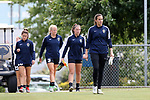 CARY, NC - JUNE 09: Katelyn Rowland (right) leads her teammates onto the practice field. The North Carolina Courage held a training session on June 9, 2017, at WakeMed Soccer Park Field 5 in Cary, NC.