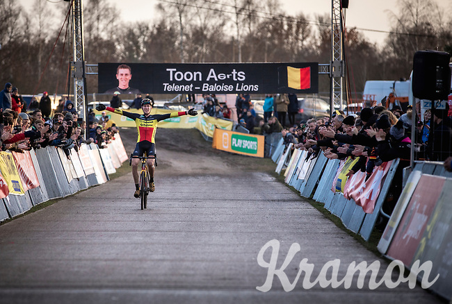 Belgian National Champion Toon Aerts (BEL/Telenet Baloise Lions) wins  the CX Superprestige Zonhoven (BEL) 2019<br /> Elite & U23 mens race