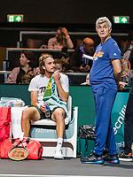 Rotterdam, The Netherlands, 9 Februari 2020, ABNAMRO World Tennis Tournament, Ahoy, Qualyfying round: Tsitsipas with his father<br /> Photo: www.tennisimages.com