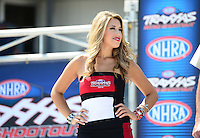 Sept. 22, 2012; Ennis, TX, USA: NHRA Traxxas girl for the funny car shootout during qualifying for the Fall Nationals at the Texas Motorplex. Mandatory Credit: Mark J. Rebilas-