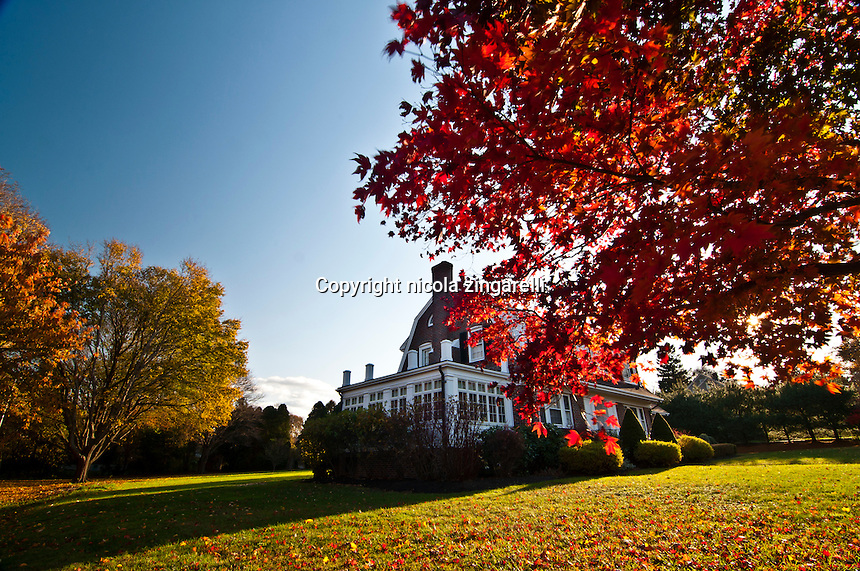 A wonderful mansion in Plymouth with the autumn colors in full bloom. The garden is extremely tidy and well taken care of. The warm light creates long shadows and light up the leves