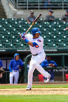 Iowa Cubs shortstop Addison Russell (3) at bat during a Pacific Coast League game against the San Antonio Missions on May 2, 2019 at Principal Park in Des Moines, Iowa. Iowa defeated San Antonio 8-6. (Brad Krause/Four Seam Images)