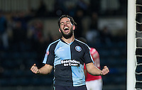 Sam Wood of Wycombe Wanderers celebrates his goal during the Sky Bet League 2 match between Wycombe Wanderers and Crawley Town at Adams Park, High Wycombe, England on 28 December 2015. Photo by Andy Rowland / PRiME Media Images