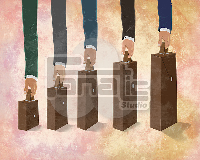 Illustrative image of businessmen's hands holding briefcases representing profit and loss of business