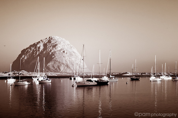 Boats on Morro Bay taken in the stillness of sunrise.  Captured in infrared