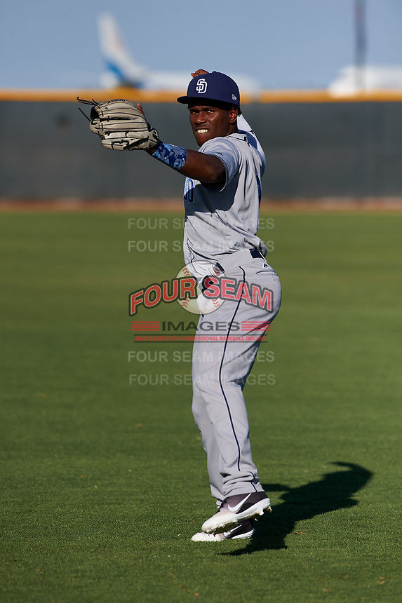 AZL Padres 1 Victor Nova (2) warms up before an Arizona League game against the AZL Indians Red on June 23, 2019 at the Cleveland Indians Training Complex in Goodyear, Arizona. AZL Indians Red defeated the AZL Padres 1 3-2. (Zachary Lucy/Four Seam Images)