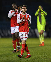 Wes Burns of Fleetwood Town applauds the travelling fans afterthe Sky Bet League 1 match between Gillingham and Fleetwood Town at the MEMS Priestfield Stadium, Gillingham, England on 27 January 2018. Photo by David Horn.