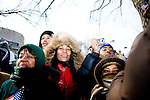 People on the National Mall for the inauguration of Barack Obama as the nation's 44th president.  The day was marked by frigid cold and drew the largest crowd that the DC mall has ever seen.