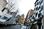 BRUSSELS - BELGIUM - 06 JANUARY 2012 -- Marolles the bohemian city part of Brussels. -- Restaurant and Club Bazaar on Rue des Capucines 63. The massive court house of Brussels, Palais de Justice in the background. -- PHOTO: Juha ROININEN /  EUP-IMAGES