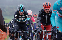 Chris Froome (GBR/SKY) with Ian Boswell's vest on, up La Redoute (1650m/9.7%)<br /> <br /> 102nd Li&egrave;ge-Bastogne-Li&egrave;ge 2016