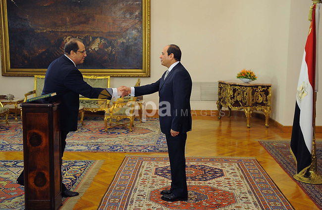 Egyptian President Abdel Fattah al-Sisi listens to the swearing in of General Abbas Kamel as the head of General Intelligence Directorate, at the Presidential Palace, in Cairo, Egypt, 28 June 2018. Photo by Egyptian President Office