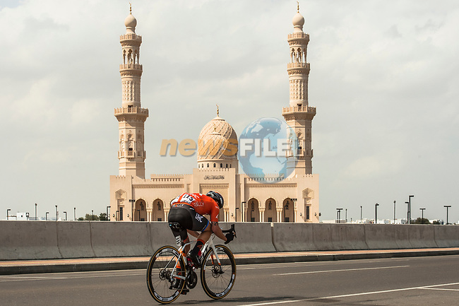 Evan Huffman (USA) Rally UHC Cycling during Stage 6 of the 10th Tour of Oman 2019, running 135.5km from Al Mouj Muscat to Matrah Corniche, Oman. 21st February 2019.<br /> Picture: ASO/Kåre Dehlie Thorstad | Cyclefile<br /> All photos usage must carry mandatory copyright credit (© Cyclefile | ASO/Kåre Dehlie Thorstad)