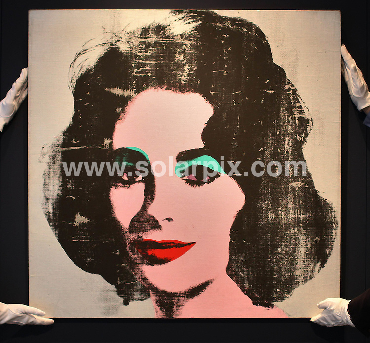 **ALL ROUND PICTURES FROM SOLARPIX.COM**.**NO UK NEWSPAPER PUBLICATION**.**UK MAGAZINE & SUPPLEMENT PUBLICATION ONLY** AND NO PUBLICATION IN AUSTRALIA, BELGIUM, FRANCE, GERMANY, ITALY, SCANDINAVIA AND USA** .A rare Andy Warhol portrait of Elizabeth Taylor, unseen in public for over 20 years, was unveiled at Christie's auctioneers in London today...The 1963 Warhol Liz is one of two paintings with silver backgrounds that highlight the actress's violet-colored eyes and is estimated at as much as £8 million ($11.6 million) when auctioned at Post-War and Contemporary Art Evening Auction on 30th June. 8 June 2010.This pic: Liz Taylor pop art..JOB REF: 11423 SFE       DATE: 08_06_2010.**MUST CREDIT SOLARPIX.COM OR DOUBLE FEE WILL BE CHARGED**.**MUST NOTIFY SOLARPIX OF ONLINE USAGE**.**CALL US ON: +34 952 811 768 or LOW RATE FROM UK 0844 617 7637**