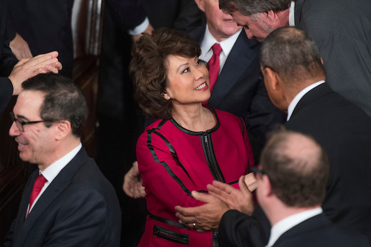 UNITED STATES - FEBRUARY 28: Transportation Secretary Elaine Chao arrives in the House Chamber before President Donald Trump addressed a joint session of Congress in the Capitol, February 28, 2017. (Photo By Tom Williams/CQ Roll Call)