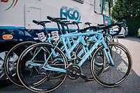Team AGO-Aqua Service light blue race bikes at the ready<br /> <br /> 59th Grand Prix de Wallonie 2018 <br /> 1 Day Race from Blegny to Citadelle de Namur (BEL / 206km)