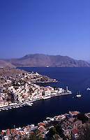 An aerial view of Symi Town and harbor. Greece