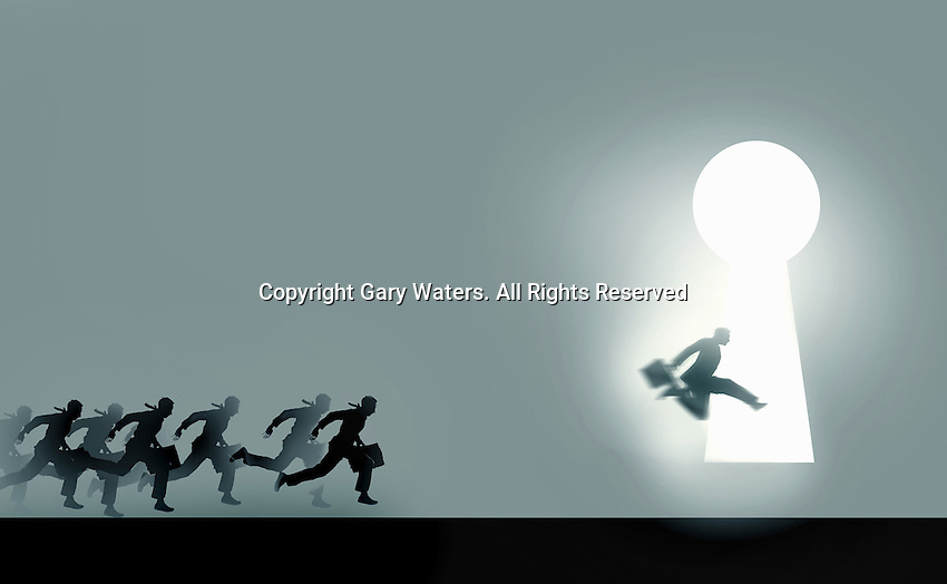 Businessmen running in race to enter illuminated keyhole