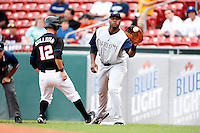 June 29, 2009:  First Baseman Brandon Allen of the Charlotte Knights takes a pick off attempt throw as Cory Sullivan gets back during a game at Coca-Cola Field in Buffalo, NY.  The Knights are the International League Triple-A affiliate of the Chicago White Sox.  Photo by:  Mike Janes/Four Seam Images