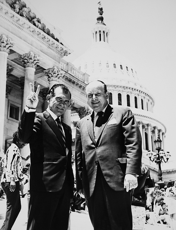 Rep. James M. Hanley, D-N.Y. and President Richard Nixon at Capitol Hill. (Photo by Dev O'Neill/CQ Roll Call)