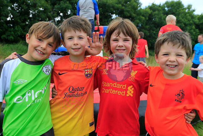 Peter Bowe, Ryan McBriorty, Kieran Hackett and Eoin McBriorty<br /> at the East Meath United family fun day.<br /> Picture:  Fran Caffrey / www.newsfile.ie