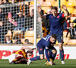 17.02.2019: Motherwell v Hearts: Ben Garuccio goes in two footed on Liam Grimshaw and is sent off