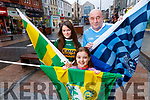Getting ready for the sold out Kerry v Dublin match at Austin Stack Park in Tralee on Saturday night are Mia Duggan, Ballyheigue Dublin native Johnny Murphy living in Tralee and Naidene Leahy, Tralee.