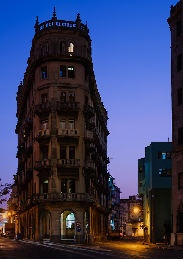 HAVANA, CUBA - CIRCA MAY 2017:  Flat Iron style building in Zanja Street in the portion of Havana better known as Chinatown at night. A popular tourist attraction in Havana.