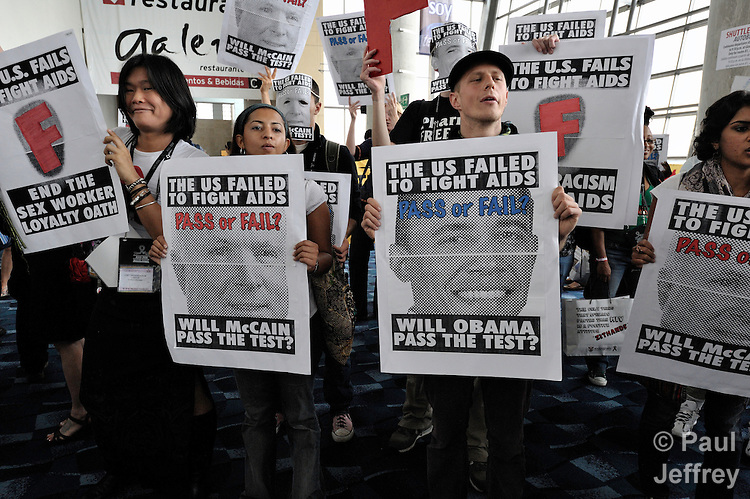 On August 6 at the XVII International AIDS Conference in Mexico City, demonstrators demanded greater U.S. government attention and funding to treat and prevent HIV and AIDS.