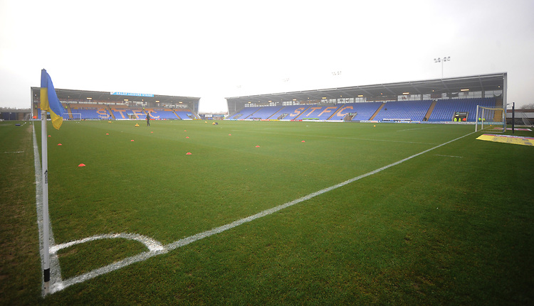 A general view of New Meadow, home of Shrewsbury Town FC<br /> <br /> Photographer Kevin Barnes/CameraSport<br /> <br /> The EFL Sky Bet League One - Shrewsbury Town v Fleetwood Town - Tuesday 1st January 2019 - New Meadow - Shrewsbury<br /> <br /> World Copyright © 2019 CameraSport. All rights reserved. 43 Linden Ave. Countesthorpe. Leicester. England. LE8 5PG - Tel: +44 (0) 116 277 4147 - admin@camerasport.com - www.camerasport.com