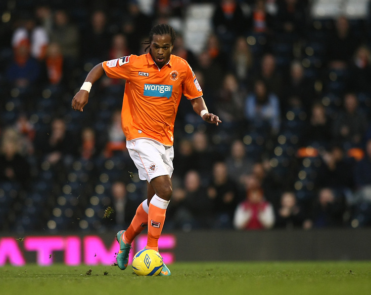 Blackpool's Nathan Delfouneso...Football - FA Challenge Cup Third Round - Fulham v Blackpool - Saturday 5th January 2013 - Craven Cottage - London..