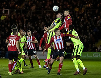Bolton Wanderers' Daryl Murphy (centre left) competing with Lincoln City's Jason Shackell (2nd right) <br /> <br /> Photographer Andrew Kearns/CameraSport<br /> <br /> The EFL Sky Bet League One - Lincoln City v Bolton Wanderers - Tuesday 14th January 2020  - LNER Stadium - Lincoln<br /> <br /> World Copyright © 2020 CameraSport. All rights reserved. 43 Linden Ave. Countesthorpe. Leicester. England. LE8 5PG - Tel: +44 (0) 116 277 4147 - admin@camerasport.com - www.camerasport.com