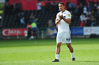 Courtney Baker-Richardson of Swansea City applauds the fans at the final whistle during the Sky Bet Championship match between Swansea City and Rotherham United at the Liberty Stadium in Swansea, Wales, UK.  Friday 19 April 2019