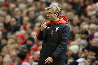 Liverpool Manager Jurgen Klopp issues instructions as he stands in the technical area during the Barclays Premier League Match between Liverpool and Swansea City played at Anfield, Liverpool on 29th November 2015