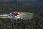Bear Valley Elementary School is on the Anchorage, Alaska upper hillside. Aerial photograph.
