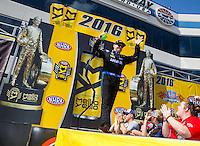 Sep 18, 2016; Concord, NC, USA; NHRA top fuel driver Richie Crampton during the Carolina Nationals at zMax Dragway. Mandatory Credit: Mark J. Rebilas-USA TODAY Sports