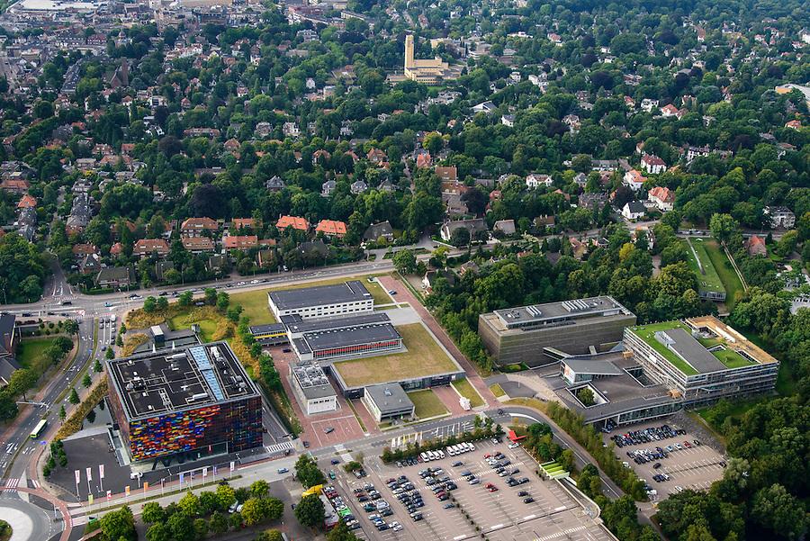 Nederland, Noord-Holland, Hilversum, 27-08-2013; Mediapark met Instituut voor Beeld en Geluid (li), VPRO-gebouw en dat van NTR-Vara. Middenboven in beeld het stadhuis van Hilversum.<br /> Business park of the public and commercial broadcasting companies,  the VPRO (green roof) and NTR-Vara buildings and the Netherlands Institute for Sound and Vision.<br /> luchtfoto (toeslag op standaard tarieven);<br /> aerial photo (additional fee required);<br /> copyright foto/photo Siebe Swart.