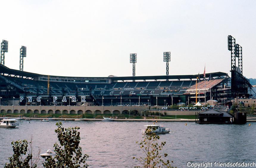 Ballparks: Pittsburgh--PNC Park, 2001. Architects: HOK Sport (Kansas City)