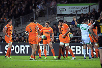 The Jaguares are awarded a penalty during the Super Rugby match between the Chiefs and Jaguares at Rotorua International Stadum in Rotorua, New Zealand on Friday, 4 May 2018. Photo: Dave Lintott / lintottphoto.co.nz