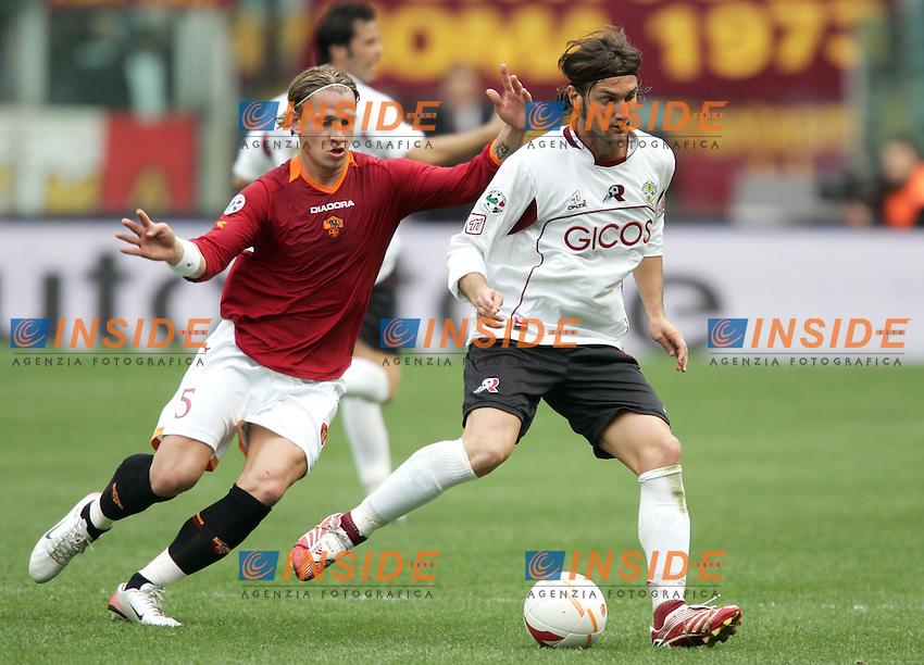 Rolando Bianchi (Reggina), Philippe Mexes (Roma)<br /> Italian &quot;Serie A&quot; 2006-07<br /> 25 Feb 2007 (Match Day 25)<br /> Roma-Reggina (3-0)<br /> &quot;Olimpico&quot;-Stadium-Roma-Italy<br /> Photographer: Andrea Staccioli INSIDE